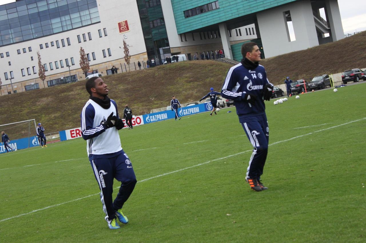 Schalke-Profis beim Auslaufen