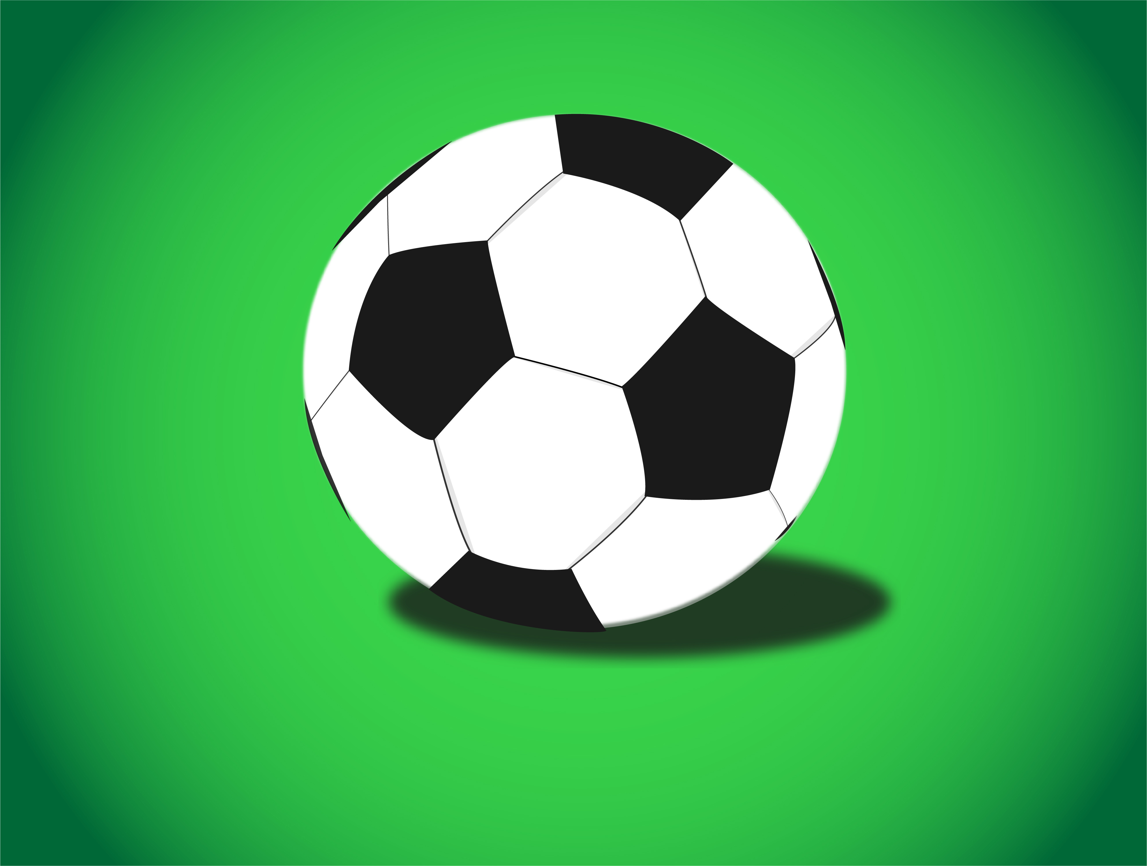 Illustration of soccer ball on green background