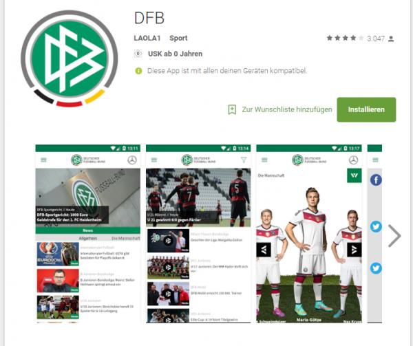 DFB im Google Playstore