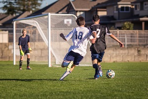 Soccer game in action with two teenage boys competing for the ball in front of the net with goalie in the background