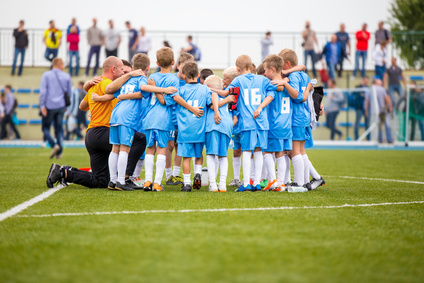 Football match for children. shout team, football soccer game. team work