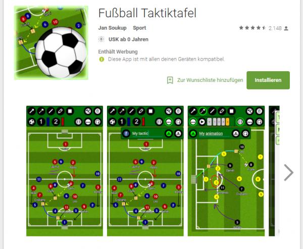 Fußball Taktiktafel im Google Playstore
