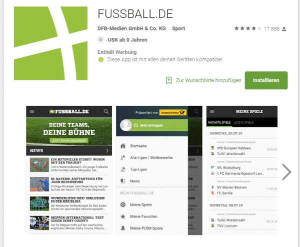 Fußball.de im Google Playstore