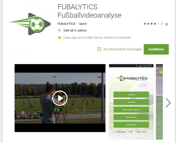 Fubalytics im Google Playstore