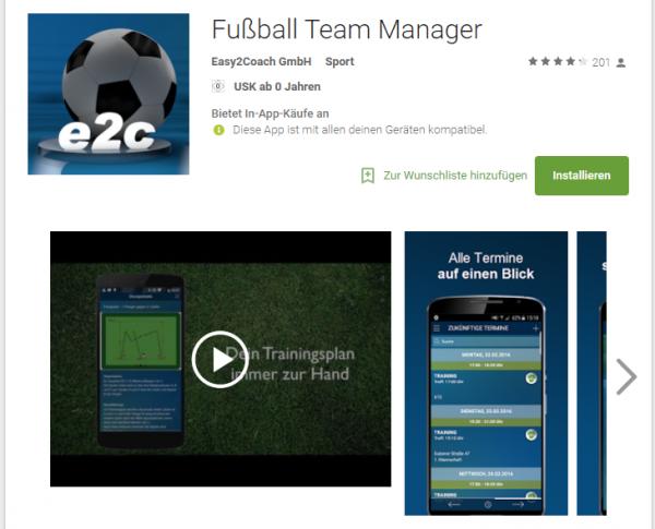 FussballTeamManager im Google Playstore