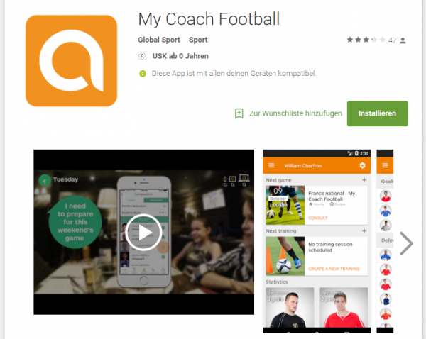 MyCoachFootball im Google Playstore